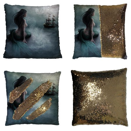 GCKG Mermaid and the Sailing Ship Reversible Mermaid Sequin Pillow Case Home Decor Cushion Cover 16x16 inches ()