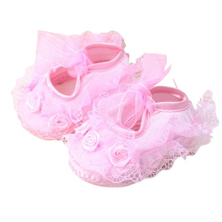 Children Girls Lace Flower Soft Sole Shoes Cute Infant Baby Shoes pink 11# inner length 10.5CM](Cute Childrens Shoes)
