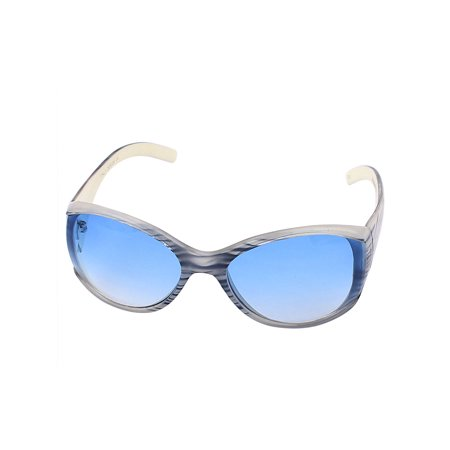 Leopard Print Plastic Frame Blue Lens Sunglasses for Woman (Sunglasses With Printed Lenses)