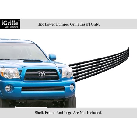 Compatible with 2005-2011 Toyota Tacoma Stainless Steel Black Bumper Billet Grille