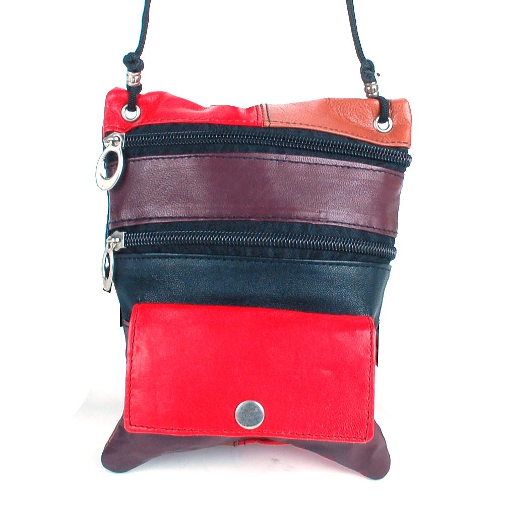 Soft Leather Purse Organizer Shoulder Bag 4 Pocket Micro Handbag Travel Wallet