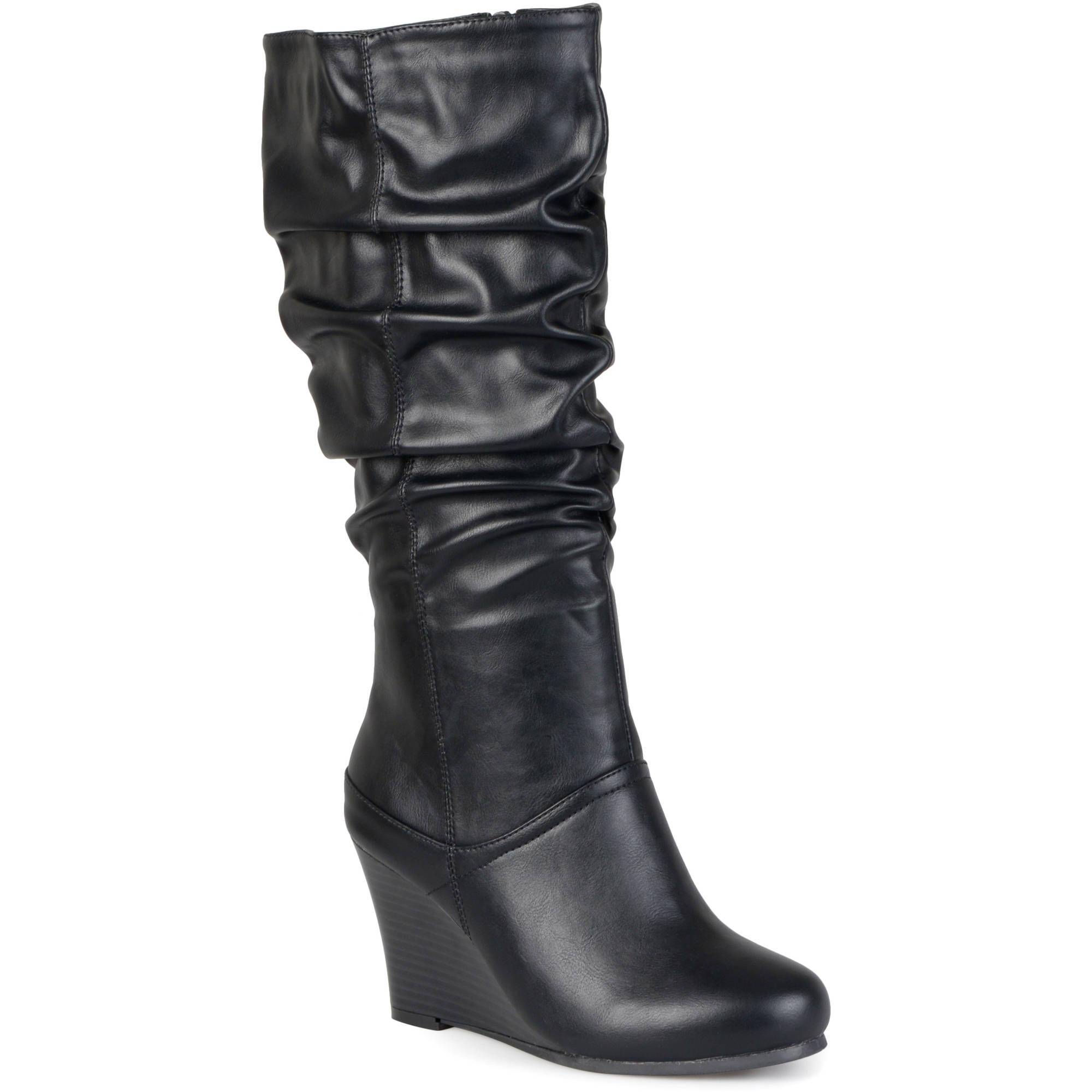 brinley co womens wide calf slouchy wedge boots walmart