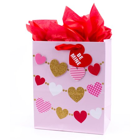 Hallmark Medium Valentine's Day Gift Bag with Tissue Paper (Multi Heart Banner) - Valentine Banner