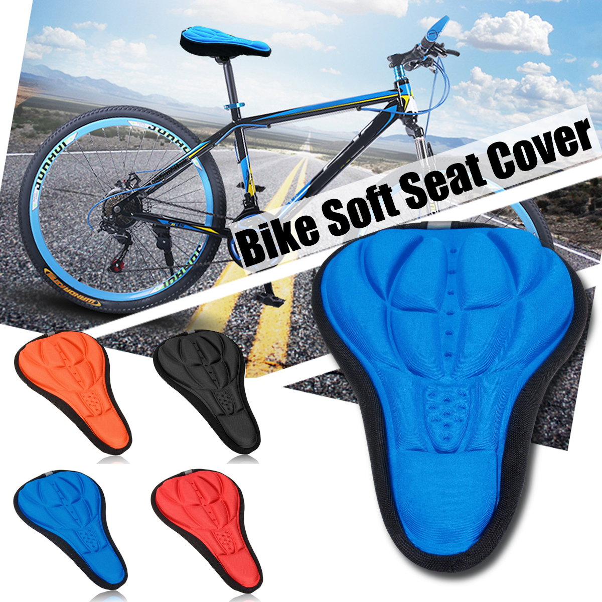 4 Colors 3D Sports Comfort Soft Seat Saddle for Bicycle Outdoor Cycling MTB Mountain Bike Bicycle Accessories Seat Cover Pad Cushion