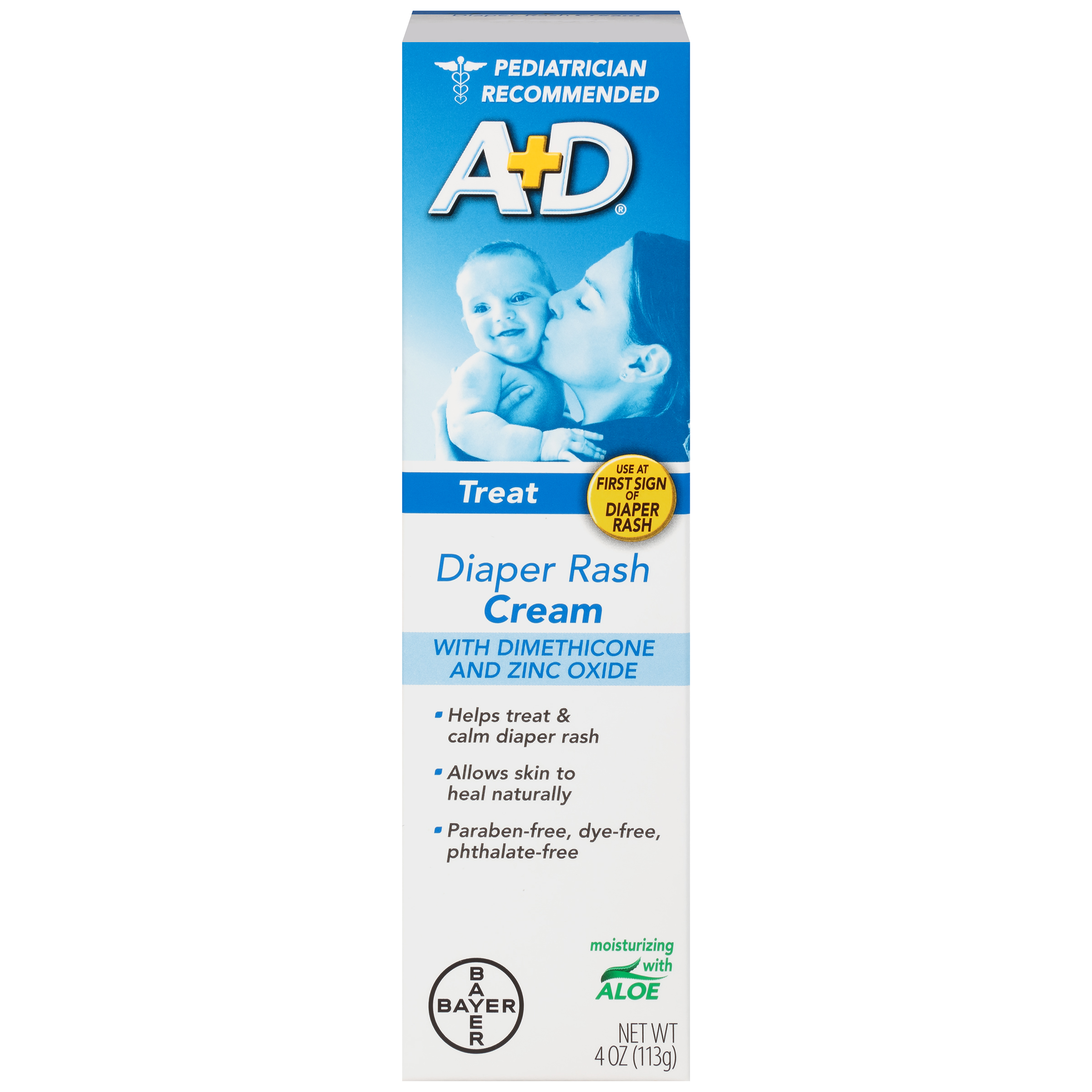 A+D Zinc Oxide Diaper Rash Treatment Cream, 4 Ounce Tube