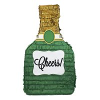 Cheers Champagne Bottle Pinata Green & Gold 11in x 20in