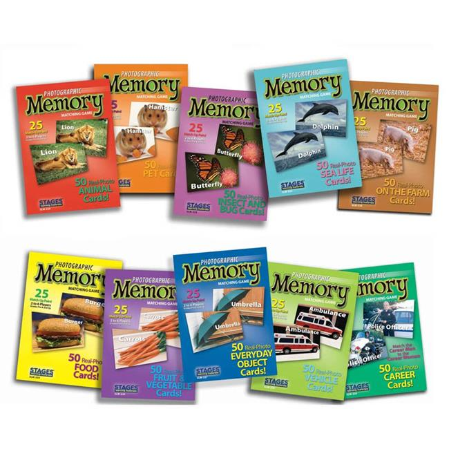 Set of 10 Picture Memory Card Games Real Photo Concentration Games