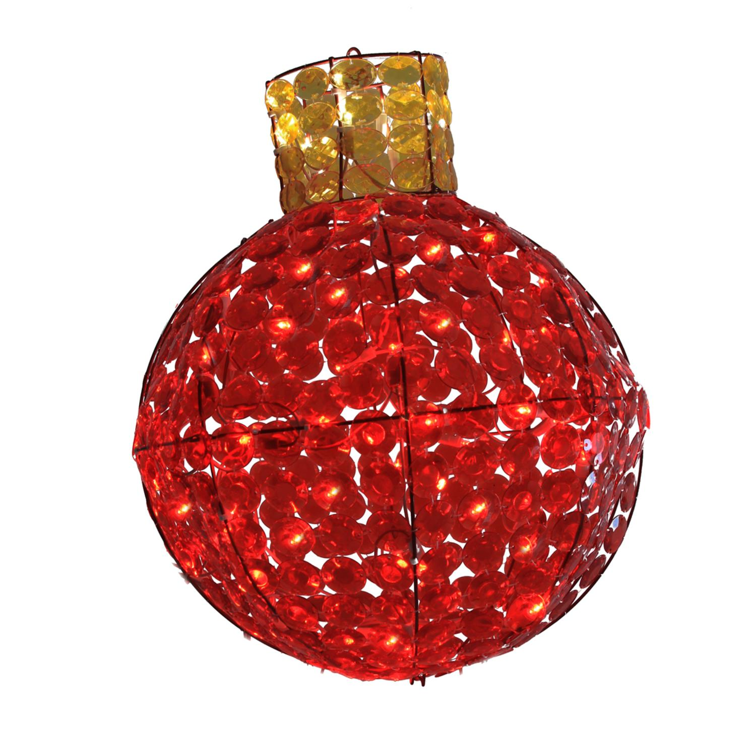 LB International 24 in. LED Lighted Red and Amber Faceted Light Bulb Christmas Light Display
