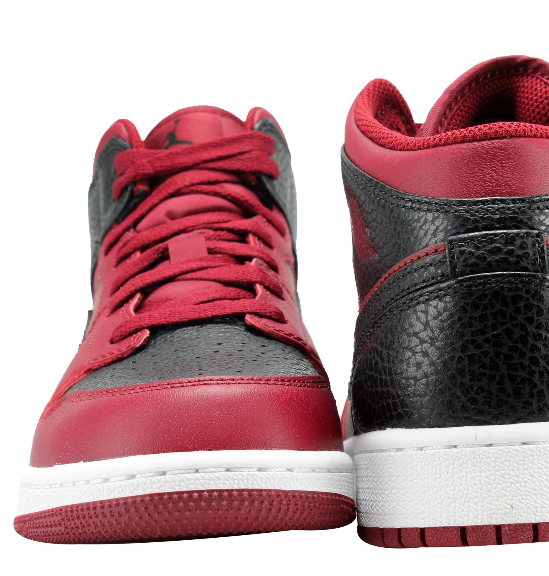 58ca5386a4fb8e Jordan - Nike Air Jordan 1 Mid Team Red Black-White Men s Basketball Shoes  554724-601 - Walmart.com