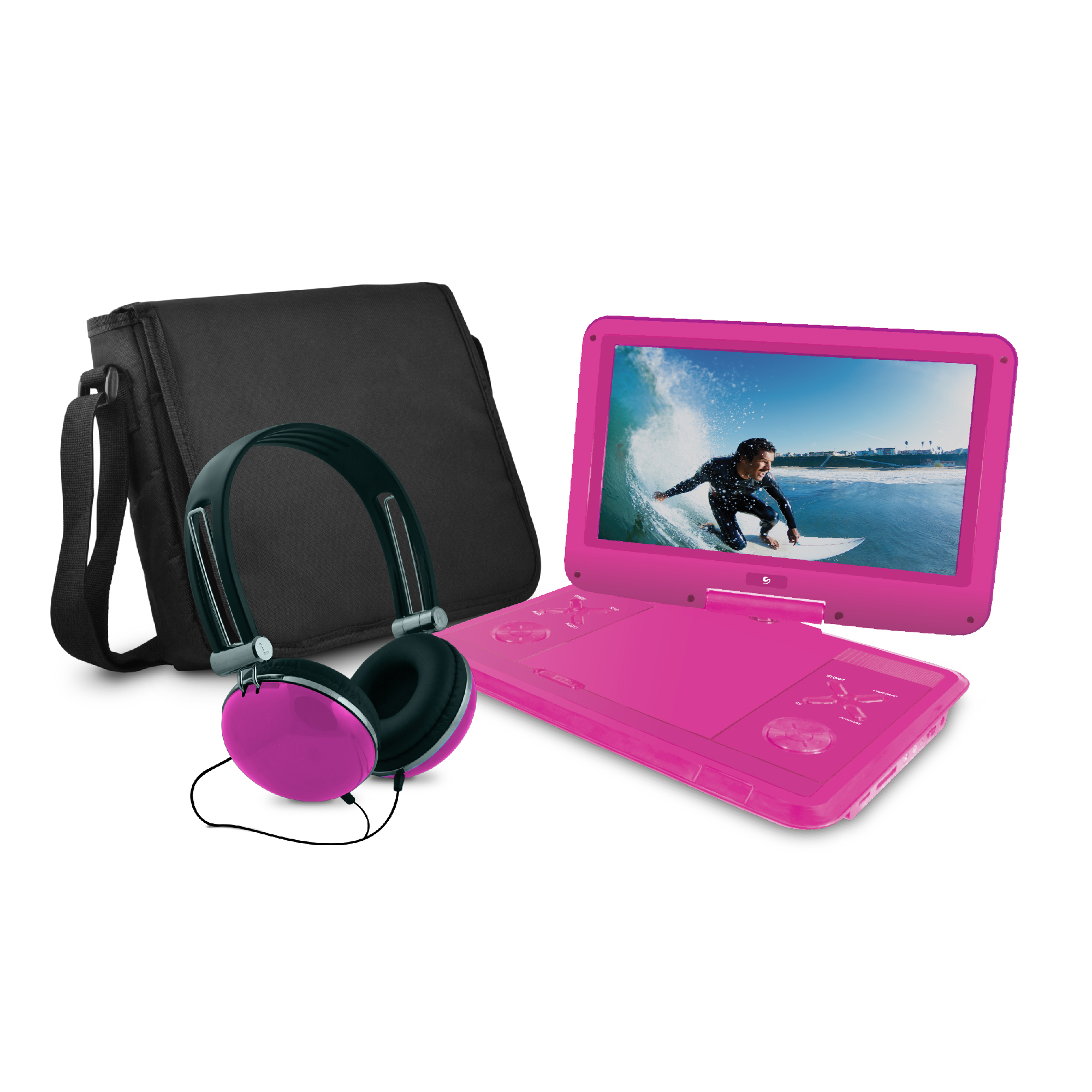 """Ematic 12.1"""" Portable DVD Player with Travel Bag and Headphones Bundle - Black"""