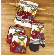 Kitchen Linen Fruit Theme Set with Towels, Mitt, and Pot Holders - 7 Pieces