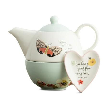 Teapot Tea Bag Holder (DaySpring  -  So Thankful - Teapot, Cup & Tea Bag Holder Gift Set for Mom )