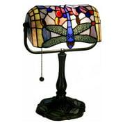 Ylona Indoor 1-Light Dragonfly Bronze Banker Desk Lamp