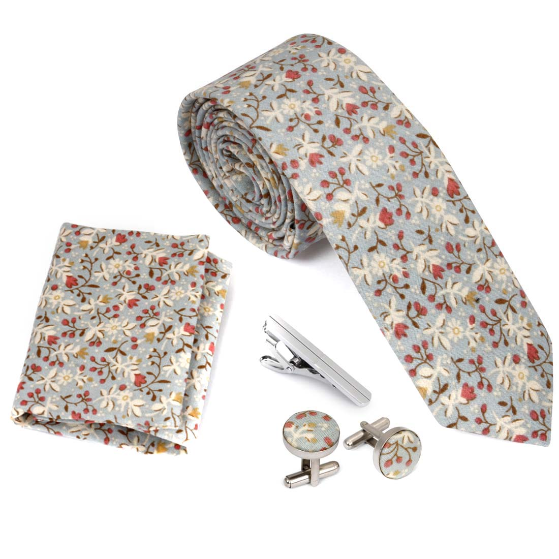 4pc Floral Design Matching Pattern Mens Fashion Accessories Set