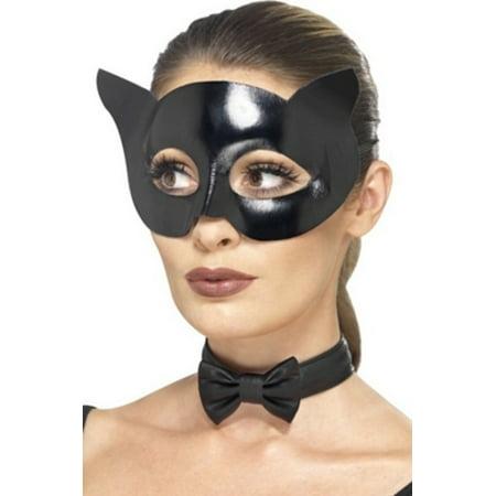 Wet Look Cat Mask & Collar Smiffy's 44528 Black