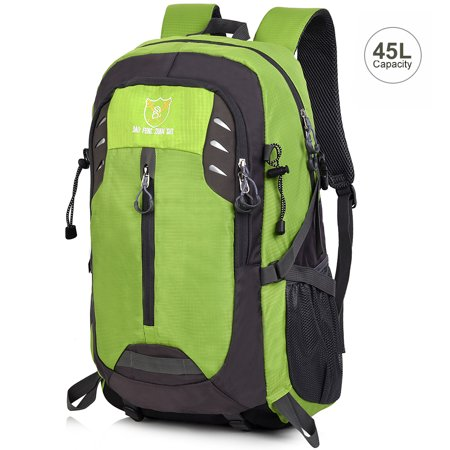 VBIGER 45L Capacity Hiking Backpack Splash-proof Camping Backpack Outdoor Daypack for Climbing Travel, Green