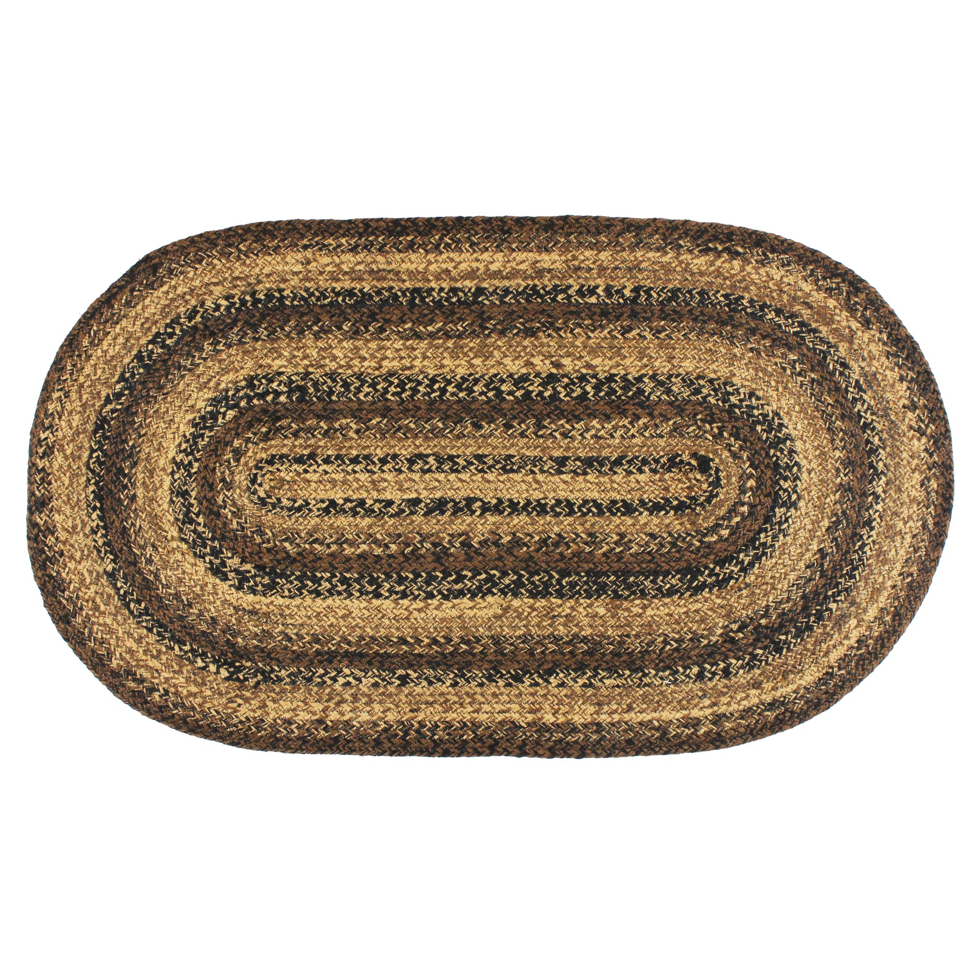 Jute Braided Rug Black Brown and Tan Primitive Country Cappuccino by IHF Limited