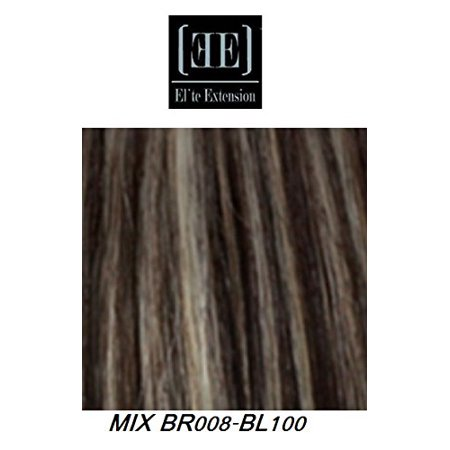 HerStyler Secret Hidden Crown Extensions 18 Inch Instant Clip-On 100% Human Hair Extensions (PLATIN BLOND ON TWILIGHT BROWN MIX BR008/BL100) (Crown Hair Extensions)