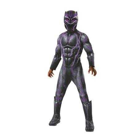 Marvel Black Panther Movie Super Deluxe Boys Light Up Black Panther Halloween Costume - Kevin Up Halloween Costume