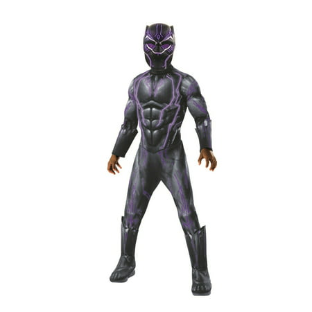 Marvel Black Panther Movie Super Deluxe Boys Light Up Black Panther Halloween Costume (Movie Studio Halloween Costumes)