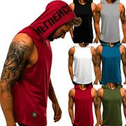 Men Gym Hoodie Shirt Muscle Sleeveless Tank Top Hooded Bodybuilding Fitness Vest