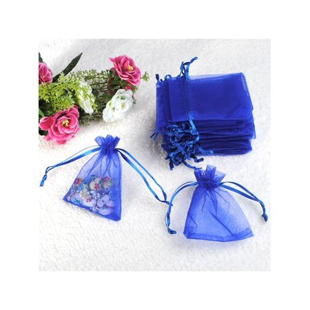 Meigar 25Pcs Royalblue Organza Wedding Party Favor Decoration Jewelry Candy Drawstring Pouches Bags Christmas (Wedding Colour)
