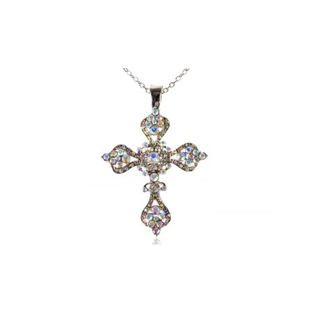 (Aurora Borealis 4 Point Sharp Ice Crystal Rhinestone Holy Cross Pendant Necklace)