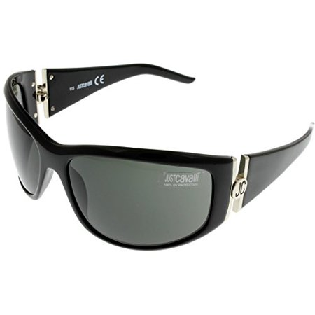 Just Cavalli Sunglasses Womens JC204S 01A Shiny Black 100% UV Protection Wrap Size: Lens/ Bridge/ Temple: 64-16-115