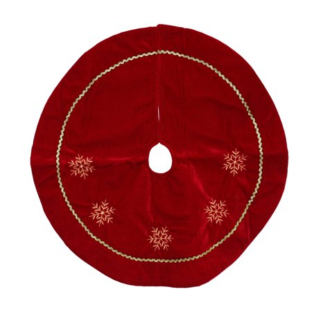 Snowflake Collection Tree Skirt - Northlight 24 in. Velvety Embroidered Snowflakes Tree Skirt