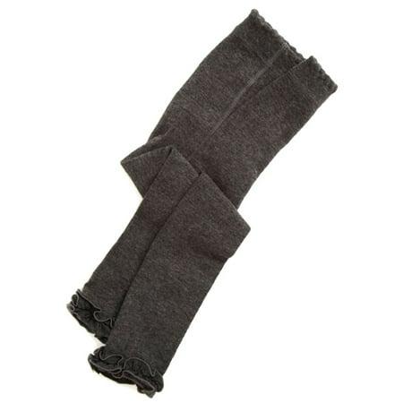 Jefferies Socks Girls Charcoal Ruffle Trim Cotton Footless Tights