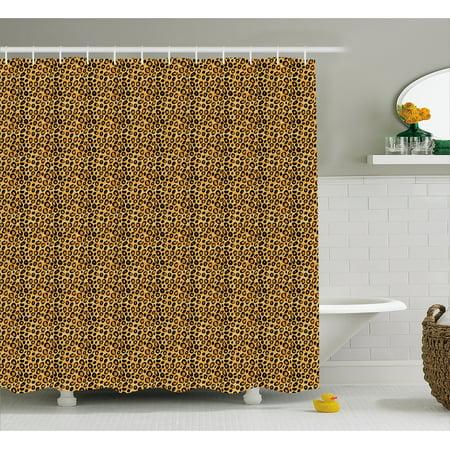 Leopard Print Shower Curtain Spotty Jungle Safari Feline Wild Africa Inspiration Tile Pattern