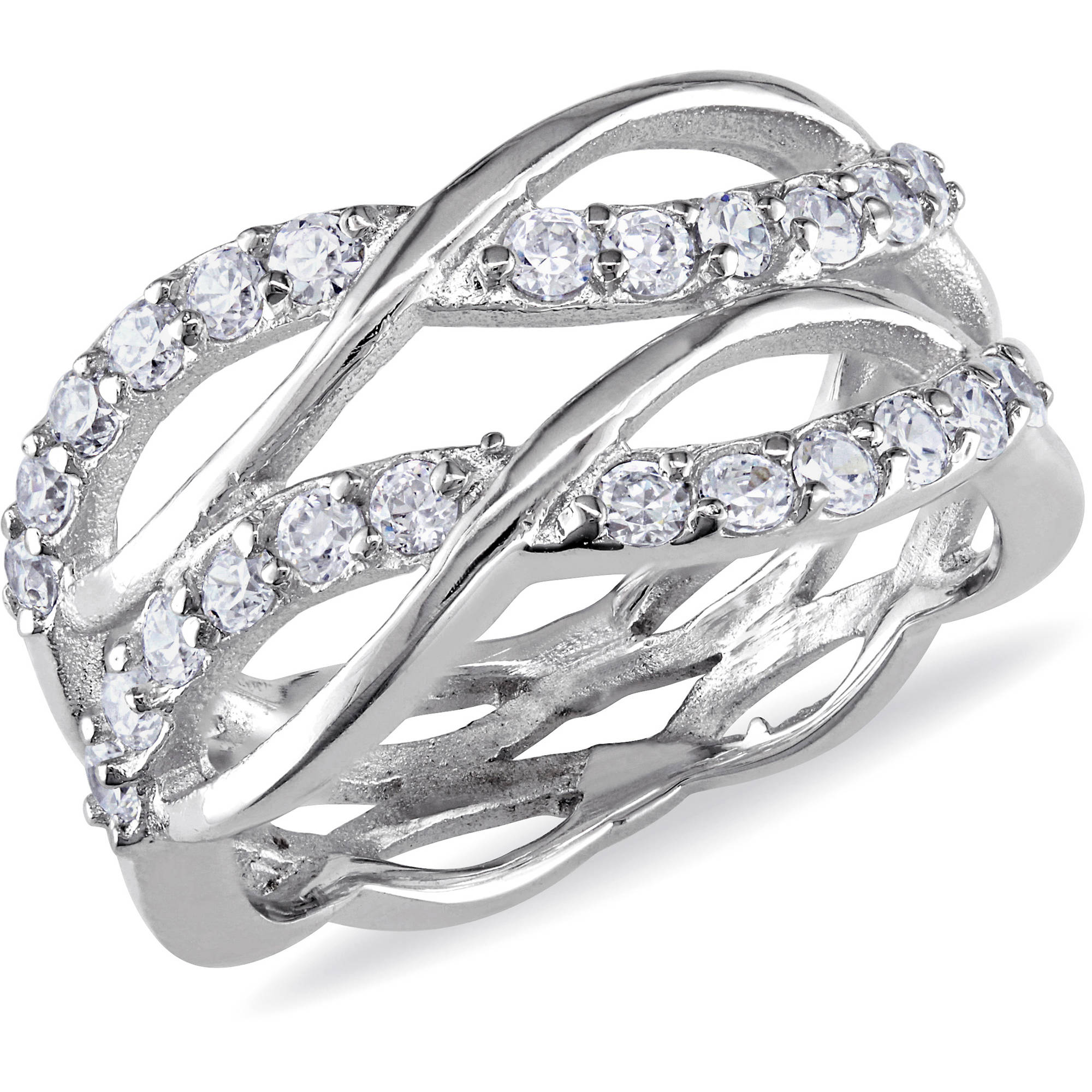 Miabella 1-1/5 Carat T.G.W. Cubic Zirconia Sterling Silver Double Infinity Ring
