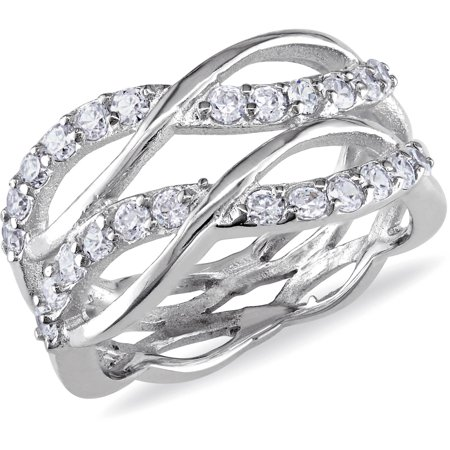 Huge Cubic Zirconia Ring - 1-1/5 Carat T.G.W. Cubic Zirconia Sterling Silver Double Infinity Ring