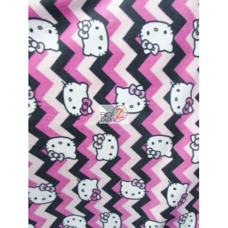Fleece Printed Fabric / Hello Kitty Chevron Pink By Springs Creative / Sold By The Yard