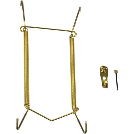 7-10 in. Plate Hanger Steel, Polished (Brass Plated Glass Hanger Rack)