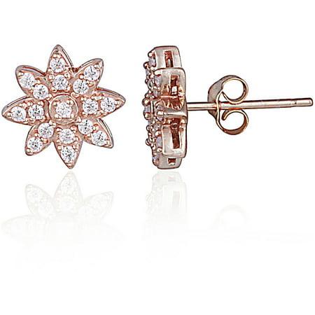 CZ Rose Gold Flashed Sterling Silver Flower Stud (Cubic Zirconia Flower Earrings)