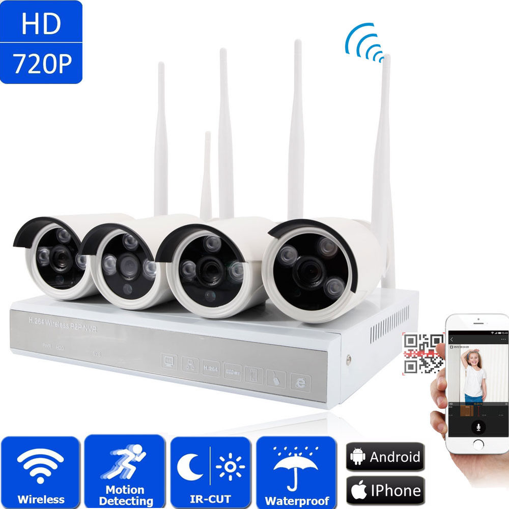 Ktaxon 4CH Wireless 1.0MP NVR Wifi IP 720P Outdoor Home Security Cameras System Video Without Hard Drive