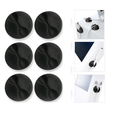 Cable Clips,Good for All Surface,PVC Material Cord Clips,for Home, Office, Cubicle, Car, Nightstand, Desk Accessories(Black 6pcs) - image 4 of 8