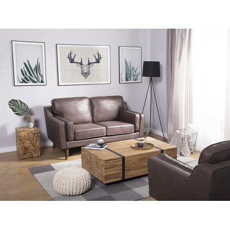 Exclusive Modern 2 Seater Sofa Upholstered Leather Imitation Brown Lokka