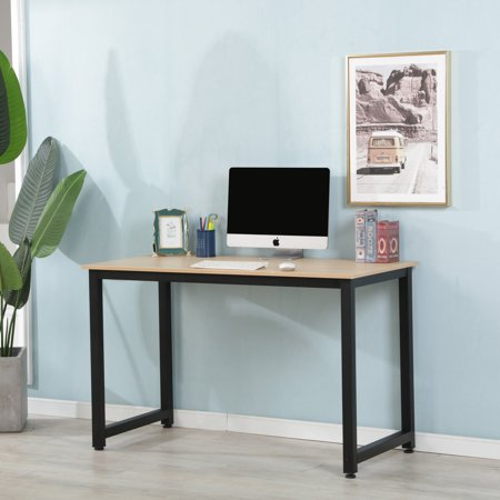 47.2'' x 23.6'' x 29.5 Computer Desk, Wood Office Desk Computer Table Study Writing Desk with Black Iron Frame and MDF Board, Easy to Assemble, PC Laptop Study Table for Home, 300 lbs, Natural,