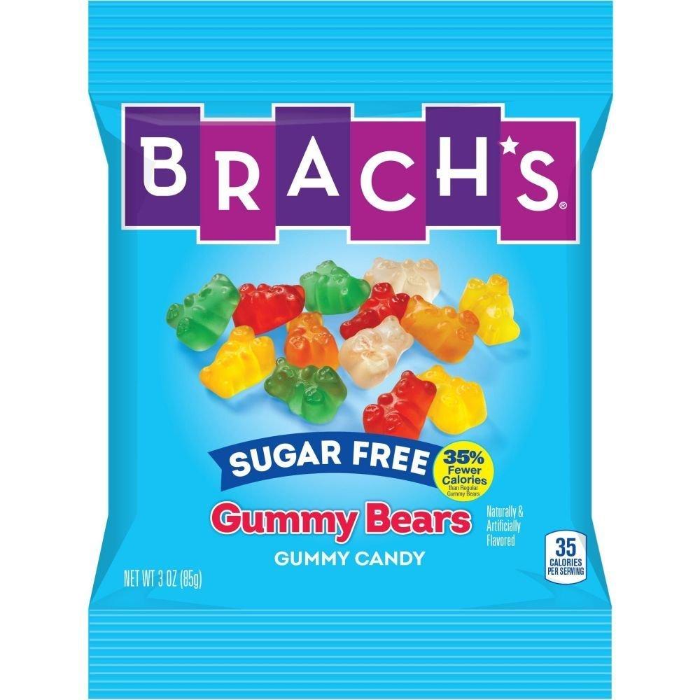 12 PACKS : Brachs Sugar Free Gummy Bears Candy, 3.5 Ounce Peg Bag -- 12 per case. by