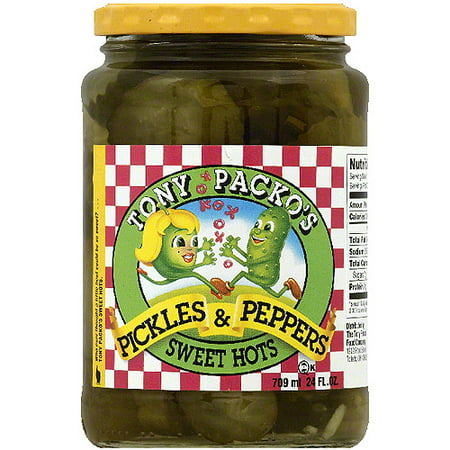 Tony Packos Sweet Hot Pickles And Peppers  24 Oz  Pack Of 6