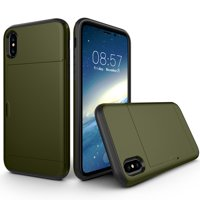 """Allytech Case for iPhone XS Max Case Hybrid iPhone XS Max Wallet Case Dual Layer Protective Shell Hard PC Soft TPU Bumper Credit Cards Slot Cover for 2018 Apple iPhone XS Max 6.5""""- Armygreen"""