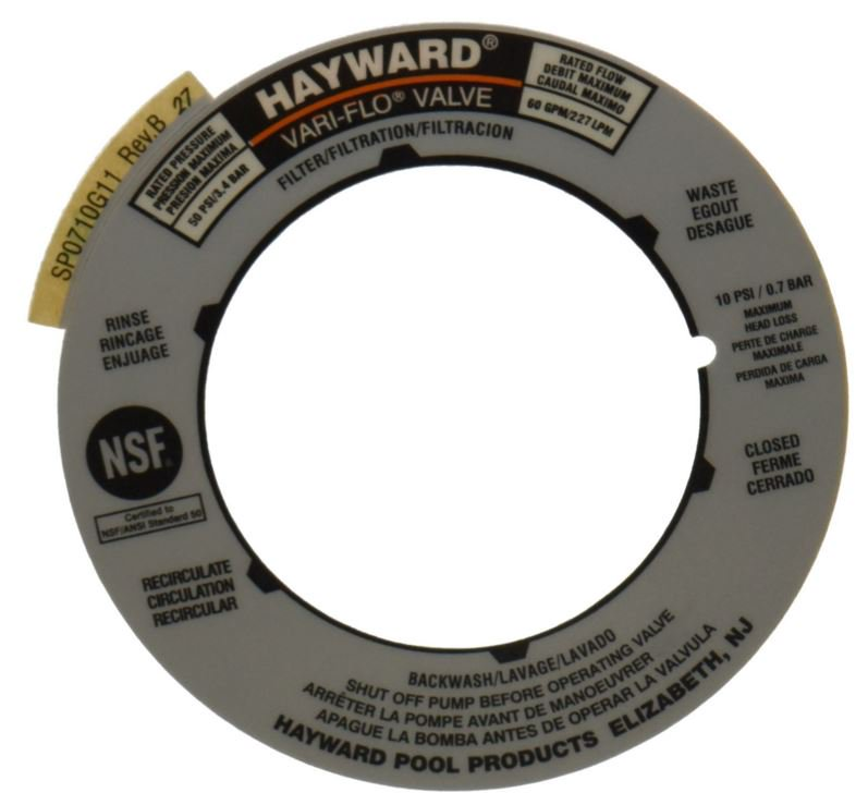 Hayward Mulitport & Pool Sand Filter Valve Label Plate Replacement  | SPX0710G