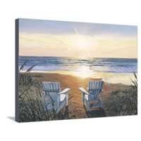 Days End Duo Beach Coastal Ocean Sunset Landscape Stretched Canvas Print Wall Art By Scott Westmoreland