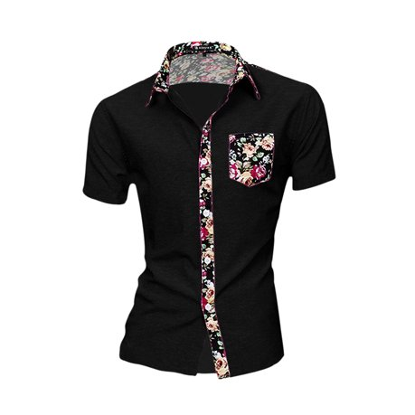 Unique bargains men short sleeve floral prints casual for Cool mens casual shirts