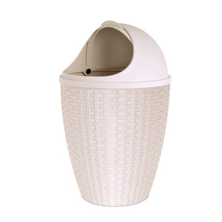 Superio Round Roll up Trash Can 7.5 Qt (Beige) - image 1 of 1