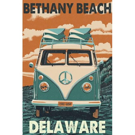 Bethany Beach, Delaware - VW Van Print Wall Art By Lantern Press