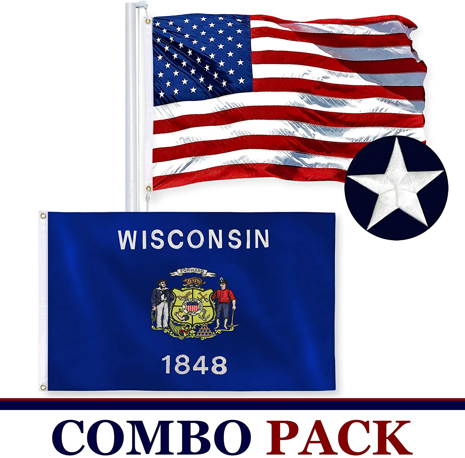 Wisconsin State Flag 210D Embroidered Polyester 3x5 Ft Double Sided 2ply