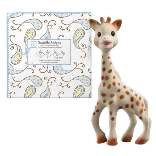 SwaddleDesigns Ultimate Receiving Blanket with Sophie the Giraffe Teether, Triplets Paisley / Pastel Blue